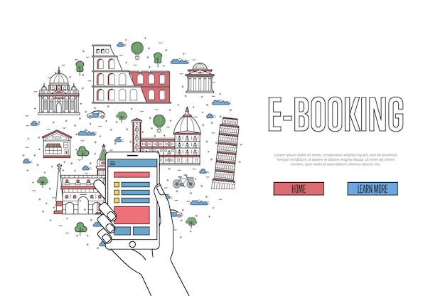 E-booking-banner im linearen stil