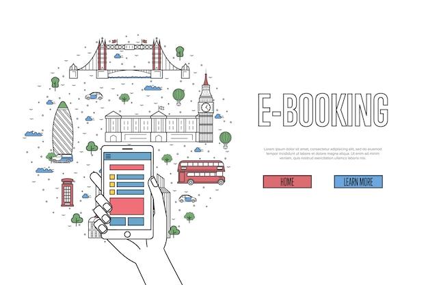 E-booking-website im linearen stil
