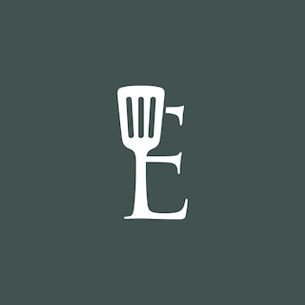 E brief spachtel küche restaurant koch logo vektor icon illustration
