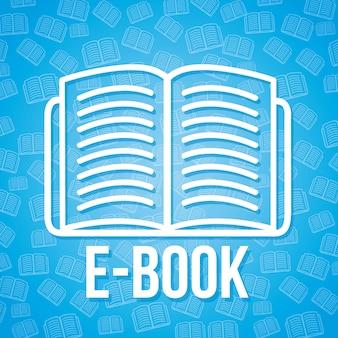 E-buch-ikone über blauer hintergrundvektorillustration