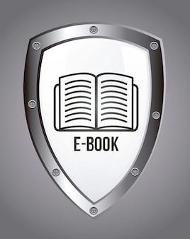 E-buch-ikone über grauer hintergrundvektorillustration