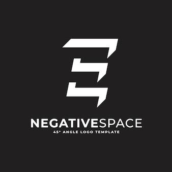 E buchstabe negativer raum geometrisches alphabet markieren logo-vektor-symbol-illustration