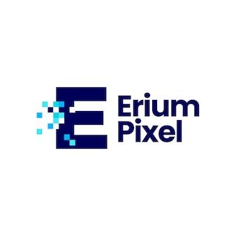 E-buchstaben-pixel-markierung digitale 8-bit-logo-vektor-symbol-illustration