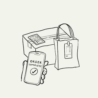 E-commerce-business-doodle-vektor, online-lieferauftrag abgeschlossen