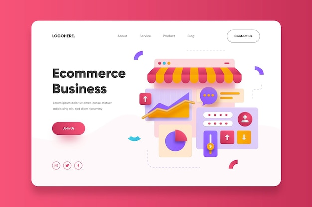 E-commerce business landing page vorlage
