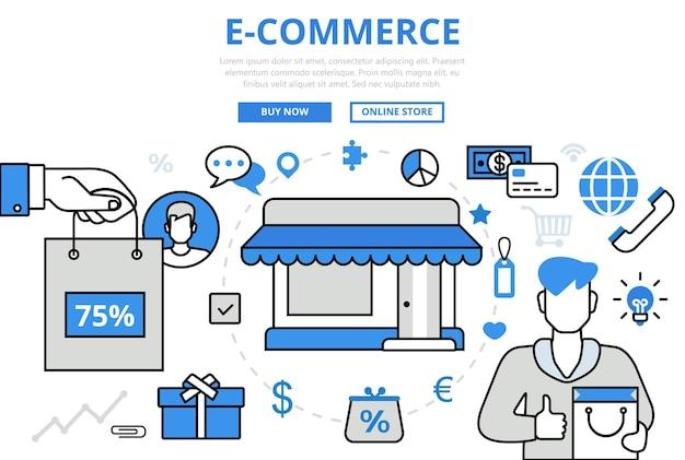 E-commerce elektronischer verkauf shop einkaufen geschäftskonzept flache linie kunst ikonen.