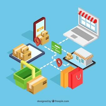 E-commerce-elemente mit verschiedenen geräten