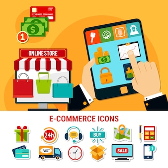E-commerce flache icons set