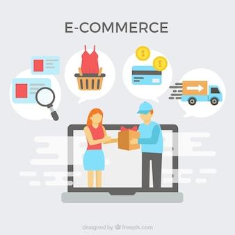 E-commerce-ikonen und lieferung