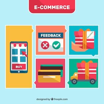 E-commerce-illustrationen mit design