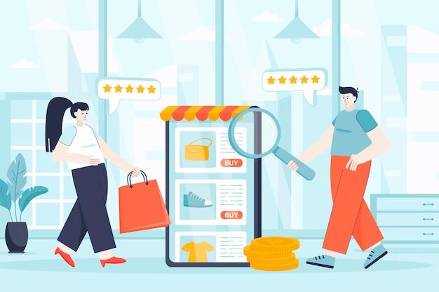 E-commerce-konzept in der flachen entwurfsillustration von personencharakteren für zielseite