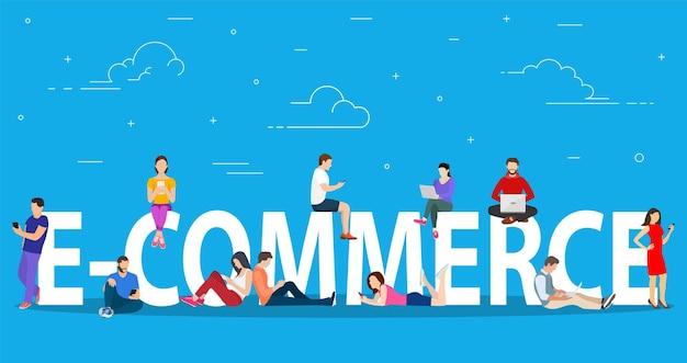 E-commerce-konzeptleute, die das symbol für mobile geräte verwenden