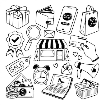 E-commerce-linie gekritzelillustration