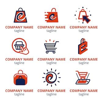 E-commerce-logopaket mit flachem design