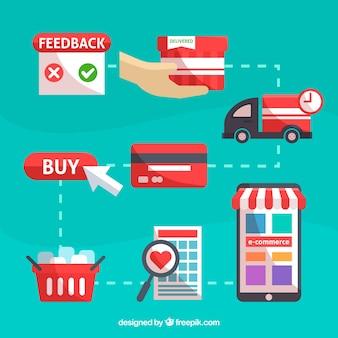 E-commerce-netzwerk mit flachem design