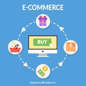 E-commerce-netzwerk und computer