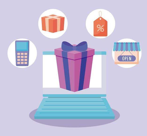 E-commerce online mit laptop-computer und symbolen