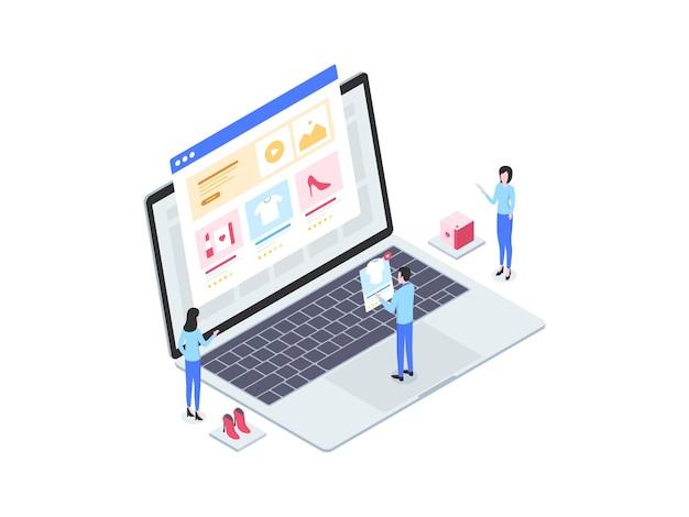 E-commerce-produkt isometrische illustration. geeignet für mobile apps, websites, banner, diagramme, infografiken und andere grafische elemente.