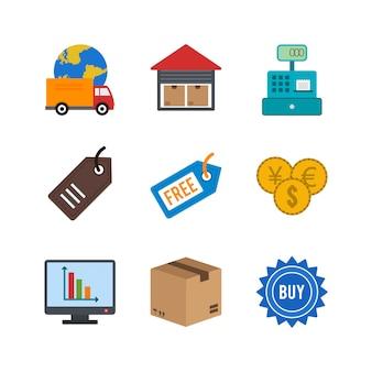 E-commerce-symbole für den persönlichen und kommerziellen gebrauch