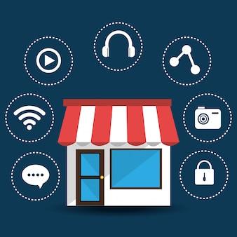 E-commerce und design von mobilen anwendungen.