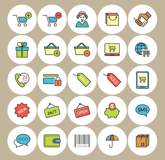 E-commerce- und einkaufsikonen eingestellt