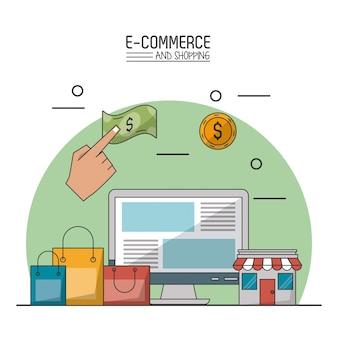 E-commerce und shopping mit desktop-computer und einkaufstaschen