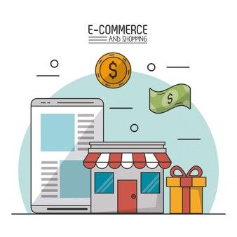 E-commerce und shopping mit geschäft und tablet und geschenk und geld