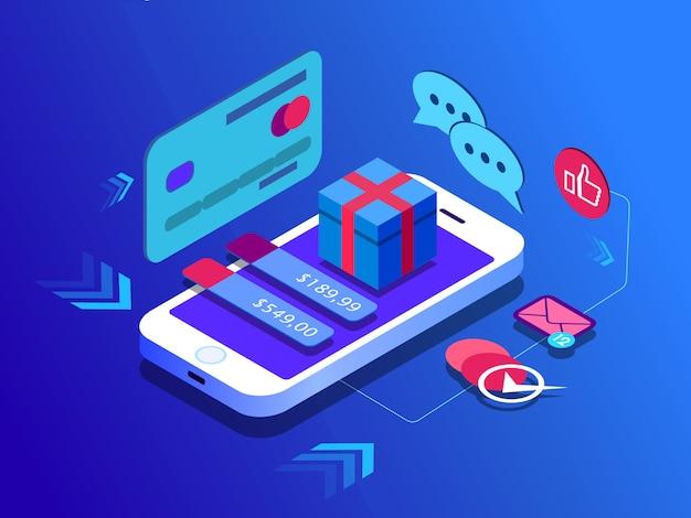 E-commerce-vertrieb, online-shopping, digitales marketing geschenk.