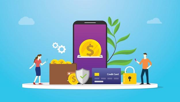 E-geldbörsentechnologie-zahlungskonzept mit teamleuten