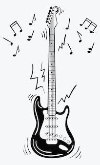 E-gitarre macht ein geräusch. schwarz-weiß-gitarre mit noten. musikinstrument.
