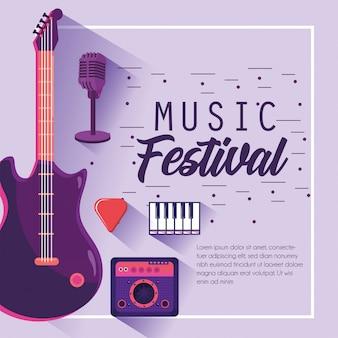 E-gitarre mit radio zur musikfestivalfeier