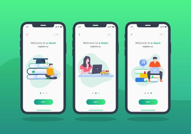 E-learning-app-set für onboarding-bildschirm für mobile benutzeroberfläche