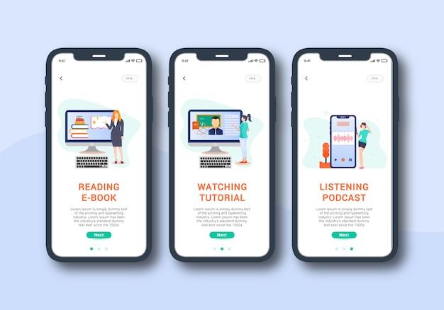 E learning app set von onboarding-bildschirm mobile benutzeroberfläche