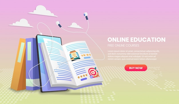 E-learning-banner. online education.education landing page vorlage für webkurse oder tutorials konzept 3d.