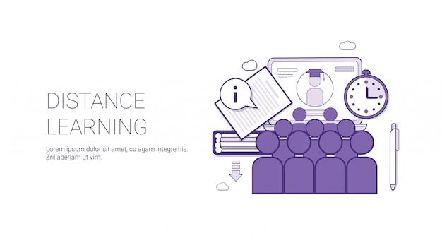 E-learning-bildungs-schablonen-netz-fahne des fernstudium-on-line-geschäfts-konzeptes