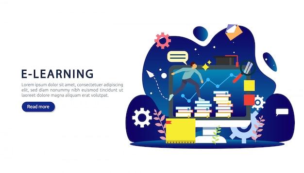 E-learning, e-book oder online-bildungskonzept für banner