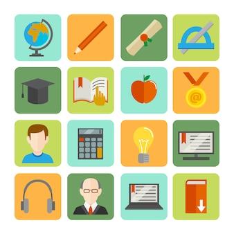 E-learning flache icon-set
