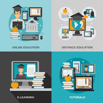 E-learning-flat-set