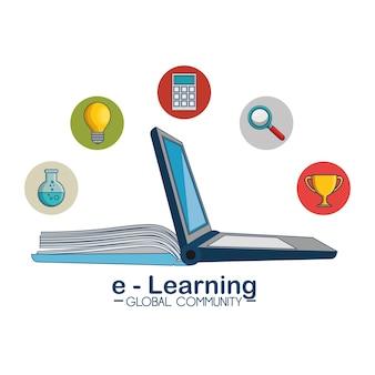 E-learning globales gemeinschaftskonzept