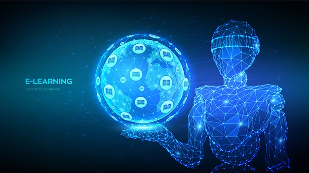 E-learning. innovatives online-bildungskonzept. abstrakter 3d niedriger polygonaler roboter, der planeten-erdkugel hält.