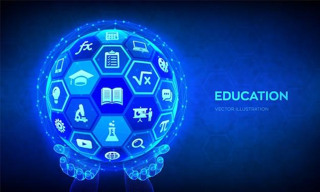 E-learning. innovatives online-bildungstechnologiekonzept. abstrakte 3d-kugel mit oberfläche von sechsecken mit symbolen in händen.