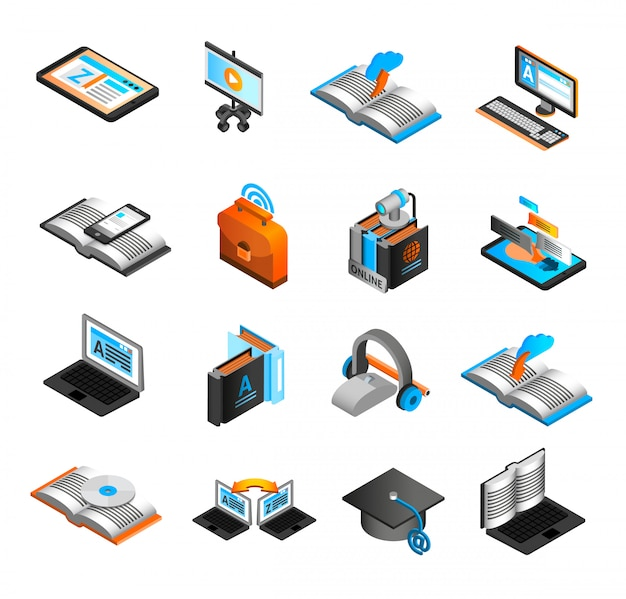 E-learning isometrische icons set