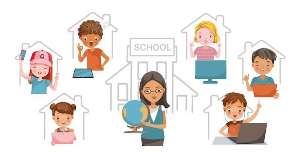E-learning-kinderkonzept. studieren sie zu hause oder online. kinder lernen gerne zu hause. technologie für bildung.