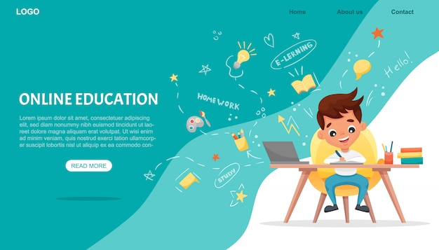 E-learning-konzept banner. online-bildung. netter schuljunge mit laptop. lernen sie zu hause mit handgezeichneten elementen. webkurse oder tutorials, lernsoftware. flache karikaturillustration