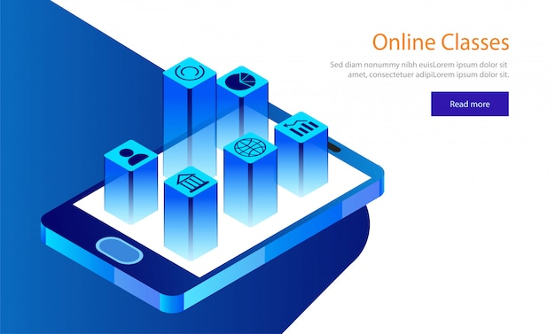 E-learning-konzept basierte landing page design.