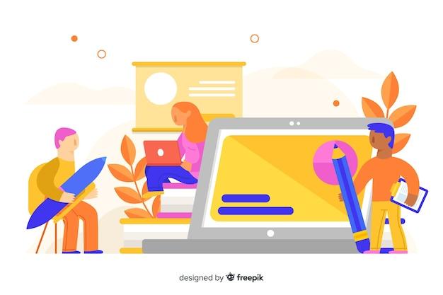 E-learning-konzept flachen hintergrund