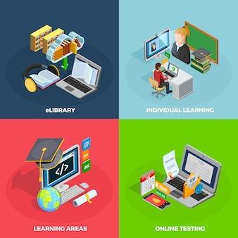 E-learning-konzept icons set