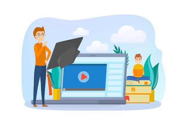 E-learning-konzept. verwenden des mobiltelefons zum lernen und lernen. menschen lesen digitale bücher aus der bibliothek auf ihren smartphones. illustration Premium Vektoren