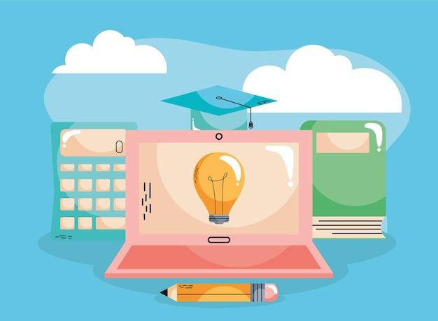 E-learning mit glühbirne im laptop