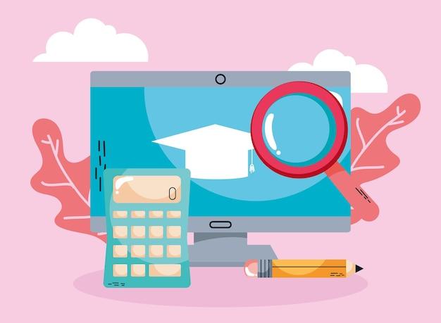 E-learning und desktop mit taschenrechner